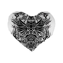 Tattoo Tribal Owl Standard 16  Premium Heart Shape Cushions by Valentinaart