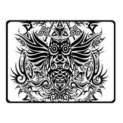 Tattoo Tribal Owl Double Sided Fleece Blanket (small)  by Valentinaart