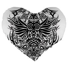 Tattoo Tribal Owl Large 19  Premium Flano Heart Shape Cushions by Valentinaart