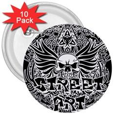 Tattoo Tribal Street Art 3  Buttons (10 Pack)  by Valentinaart