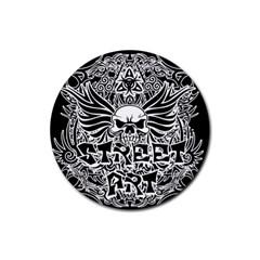 Tattoo Tribal Street Art Rubber Coaster (round)  by Valentinaart