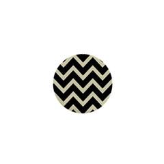 Chevron9 Black Marble & Beige Linen 1  Mini Buttons by trendistuff