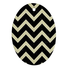 Chevron9 Black Marble & Beige Linen Ornament (oval) by trendistuff