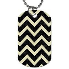 Chevron9 Black Marble & Beige Linen Dog Tag (one Side) by trendistuff