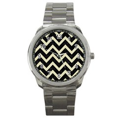 Chevron9 Black Marble & Beige Linen Sport Metal Watch by trendistuff
