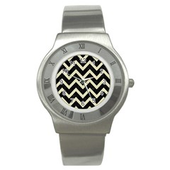 Chevron9 Black Marble & Beige Linen Stainless Steel Watch by trendistuff