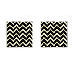 Chevron9 Black Marble & Beige Linen Cufflinks (square) by trendistuff