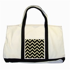Chevron9 Black Marble & Beige Linen Two Tone Tote Bag by trendistuff