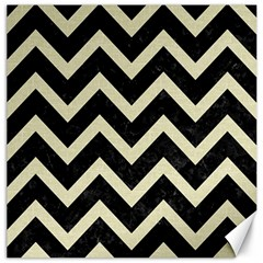 Chevron9 Black Marble & Beige Linen Canvas 16  X 16   by trendistuff