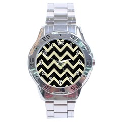 Chevron9 Black Marble & Beige Linen Stainless Steel Analogue Watch by trendistuff