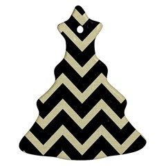 Chevron9 Black Marble & Beige Linen Ornament (christmas Tree)  by trendistuff