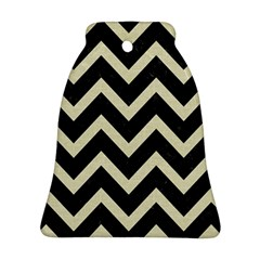 Chevron9 Black Marble & Beige Linen Ornament (bell) by trendistuff