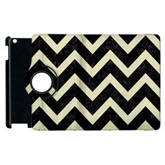 Chevron9 Black Marble & Beige Linen Apple Ipad 3/4 Flip 360 Case by trendistuff