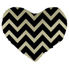 Chevron9 Black Marble & Beige Linen Large 19  Premium Heart Shape Cushions by trendistuff
