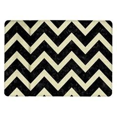 Chevron9 Black Marble & Beige Linen Samsung Galaxy Tab 10 1  P7500 Flip Case by trendistuff