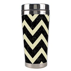Chevron9 Black Marble & Beige Linen Stainless Steel Travel Tumblers by trendistuff