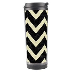 Chevron9 Black Marble & Beige Linen Travel Tumbler by trendistuff