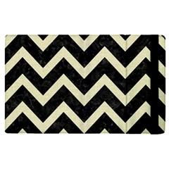 Chevron9 Black Marble & Beige Linen Apple Ipad Pro 12 9   Flip Case by trendistuff