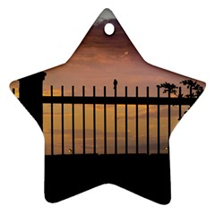 Small Bird Over Fence Backlight Sunset Scene Ornament (star) by dflcprints