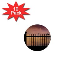 Small Bird Over Fence Backlight Sunset Scene 1  Mini Buttons (10 Pack)  by dflcprints