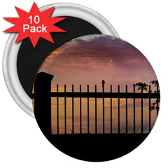 Small Bird Over Fence Backlight Sunset Scene 3  Magnets (10 Pack)  by dflcprints