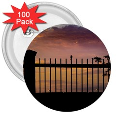 Small Bird Over Fence Backlight Sunset Scene 3  Buttons (100 Pack)  by dflcprints