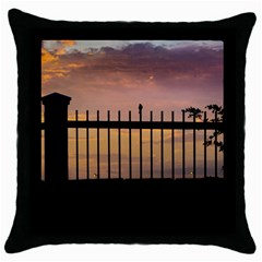 Small Bird Over Fence Backlight Sunset Scene Throw Pillow Case (black) by dflcprints