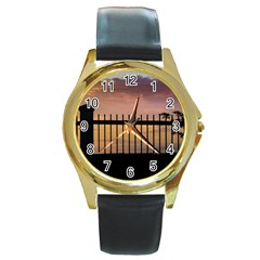 Small Bird Over Fence Backlight Sunset Scene Round Gold Metal Watch by dflcprints