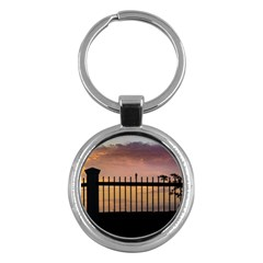 Small Bird Over Fence Backlight Sunset Scene Key Chains (round)  by dflcprints