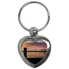 Small Bird Over Fence Backlight Sunset Scene Key Chains (heart)  by dflcprints