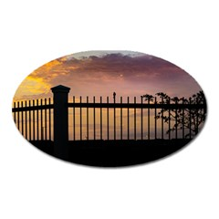 Small Bird Over Fence Backlight Sunset Scene Oval Magnet by dflcprints