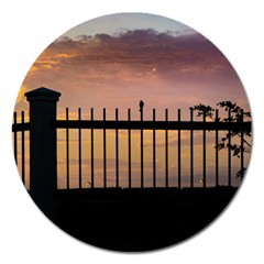 Small Bird Over Fence Backlight Sunset Scene Magnet 5  (round) by dflcprints