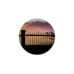 Small Bird Over Fence Backlight Sunset Scene Golf Ball Marker (4 Pack) by dflcprints
