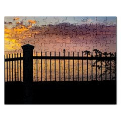 Small Bird Over Fence Backlight Sunset Scene Rectangular Jigsaw Puzzl by dflcprints