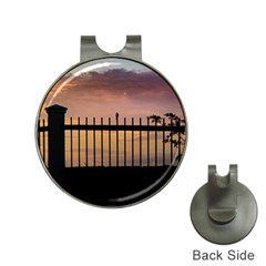 Small Bird Over Fence Backlight Sunset Scene Hat Clips With Golf Markers by dflcprints