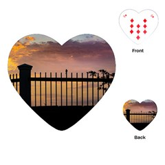 Small Bird Over Fence Backlight Sunset Scene Playing Cards (heart)  by dflcprints