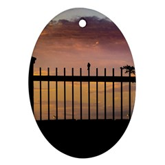 Small Bird Over Fence Backlight Sunset Scene Oval Ornament (two Sides) by dflcprints