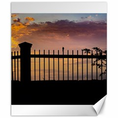 Small Bird Over Fence Backlight Sunset Scene Canvas 8  X 10  by dflcprints