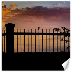 Small Bird Over Fence Backlight Sunset Scene Canvas 20  X 20   by dflcprints