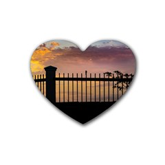 Small Bird Over Fence Backlight Sunset Scene Rubber Coaster (heart)  by dflcprints