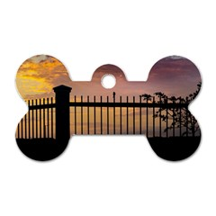 Small Bird Over Fence Backlight Sunset Scene Dog Tag Bone (two Sides) by dflcprints