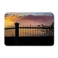 Small Bird Over Fence Backlight Sunset Scene Small Doormat  by dflcprints