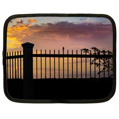 Small Bird Over Fence Backlight Sunset Scene Netbook Case (large) by dflcprints