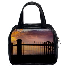 Small Bird Over Fence Backlight Sunset Scene Classic Handbags (2 Sides) by dflcprints