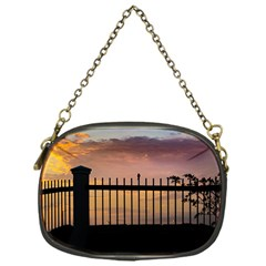 Small Bird Over Fence Backlight Sunset Scene Chain Purses (one Side)  by dflcprints