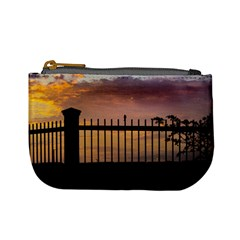 Small Bird Over Fence Backlight Sunset Scene Mini Coin Purses by dflcprints