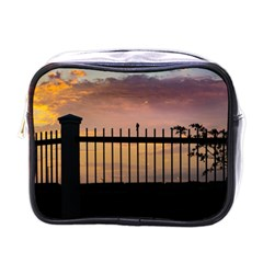 Small Bird Over Fence Backlight Sunset Scene Mini Toiletries Bags by dflcprints