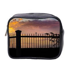 Small Bird Over Fence Backlight Sunset Scene Mini Toiletries Bag 2 Side by dflcprints