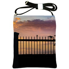 Small Bird Over Fence Backlight Sunset Scene Shoulder Sling Bags by dflcprints