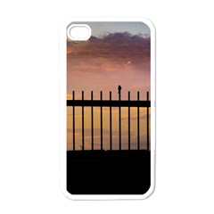 Small Bird Over Fence Backlight Sunset Scene Apple Iphone 4 Case (white) by dflcprints